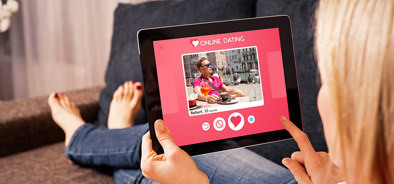 Woman using online dating app